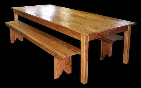 Oversize Chestnut Harvest Table With Matching Benches.